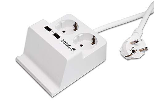 Tablet- of smartphonehouder met USB-oplader (2,5 A voor Android of iPhone) en 2-voudige stekkerdoos voor de tafel