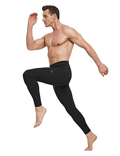BALEAF Men's Athletic Yoga Leggings Gym Training Workout Running Compression Pants Dance Tights Pocketed