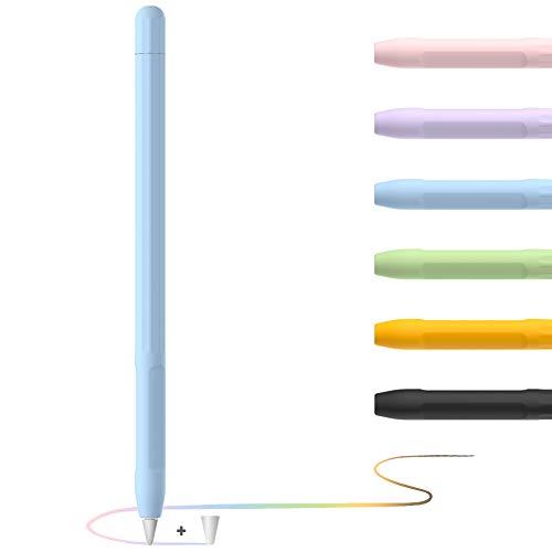 YINVA Apple Pencil Hülle Apple Pencil Case, Silikon Schön Weicher Stift Grip Griff mit Ladekappe Kappe und Pen Nib Spitze Schutzhülle (1.Generation, Blau)