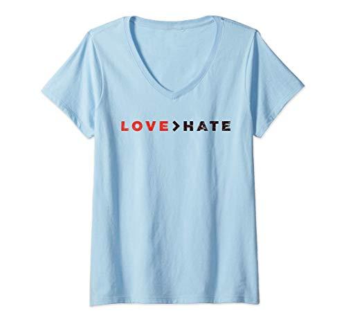 Mujer Paz Anti-acoso Amor más grande que el odio Camiseta Cuello V