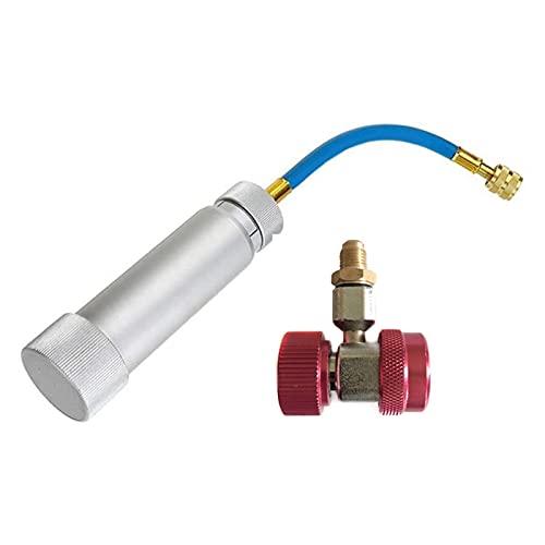 Reunion Aceite/Dye Inyector R12 R134A R410A Bomba de Giro a Mano Oilero 1/4 oz - 2 oz (7.5ml - 60 ml) 1set (Color Name : Silver)