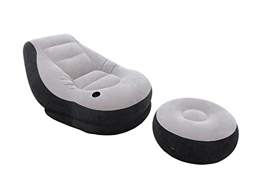 Intex 120V AC Electric Air Pump & Inflatable Ultra Lounge Chair and Ottoman Set