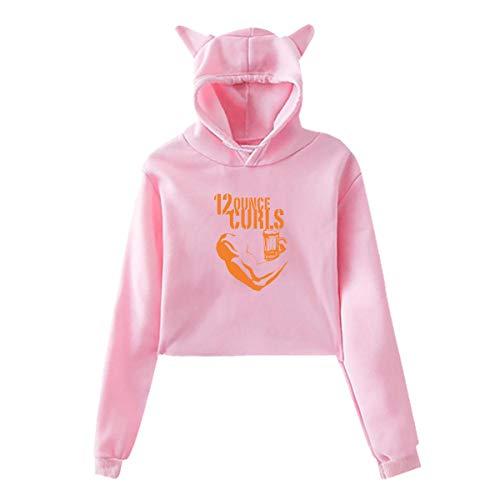Jiaojiaozhe 12 ounce krullen dames meisjes fashion cat oor hoodie sweater zwart