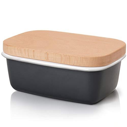 G.a HOMEFAVOR Emaille Butterdose mit Holzdeckel Multi-Funktion Butterschale