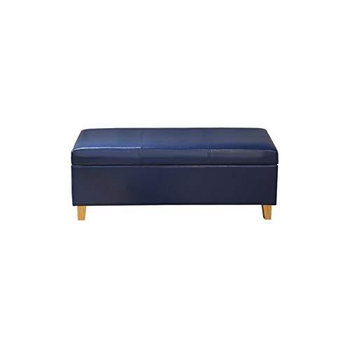 BKWJ Taburete de Almacenamiento Cuadrado de Cuero, Taburete de Almacenamiento de Marco de Madera Maciza, Taburete de sofá, Cambio de Zapatos, Caja de Almacenamiento, Azul (Size : 60 * 40 * 40cm)