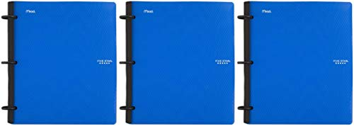 Five Star Flex Hybrid NoteBinder, 1 Inch Binder with Tabs, Notebook and 3 Ring Binder All-in-One, Blue (72011), 11 1/2' x 10 1/2' x 1 1/4'-3 Pack