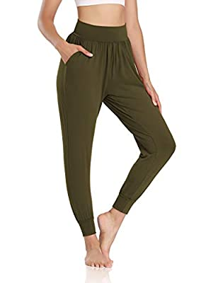 DIBAOLONG Womens Yoga Joggers Loose Workout Sweat Pants Comfy Lounge Pants with Pockets Army Green M