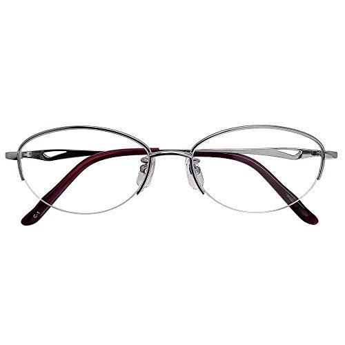 遠近両用メガネ ラティスナイロール KS-2078N (ラベンダー) (レディースセット) 全額返金保証 境目のない 遠近両用 老眼鏡 (瞳孔間距離:66mm〜68mm, 近くを見る度数:+3.0)