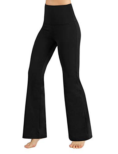 ODODOS Women's High Waisted Boot-Cut Yoga Pants Tummy Control Workout Non See-Through Bootleg Yoga Pants,Black,Large
