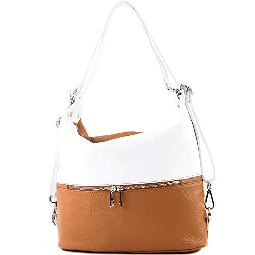 modamoda de - T189 - ital. Damen Rucksack Tasche 2in1 aus Leder, Farbe:Camel/Weiß