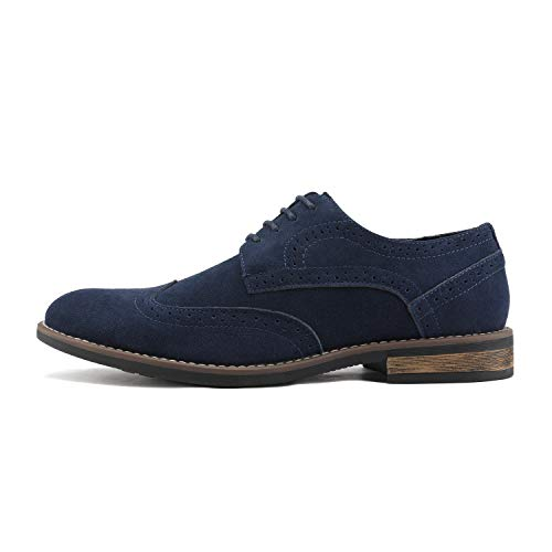 BRUNO MARC MODA ITALY URBAN-03 Men's Casual Wing Tip Brogue Genuine Suede Classic Lace Up Oxfords Shoes NAVY-SZ-10