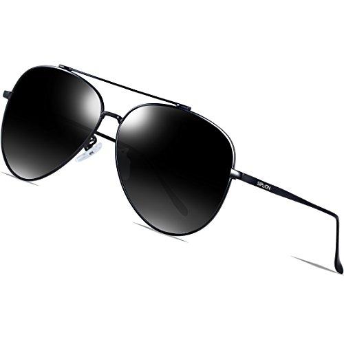 SIPLION Gafas de sol hombre Gafas de aviador polarizadas Gafas de sol con marco metálico 8002Negro