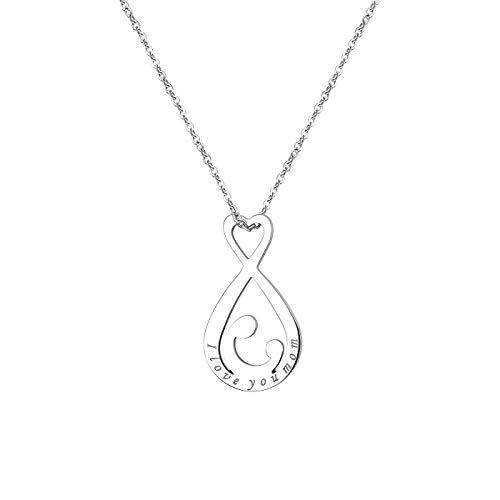 Flongo Damenkette Anhänger Halskette Mutter Schwanger Baby Kette, Edelstahl Anhänger Halskette Silber mit I Love You MOM Gravur Elegant Mother's Day Muttertagsgeschenk
