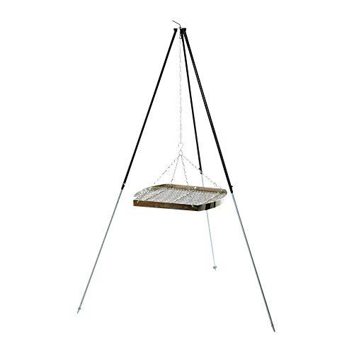 acerto 31182 Ungarischer Grillrost (60cm) mit Dreibein (180cm) & Kette * Verchromt * Mit Außenring * Besonders robust Grillgitter zum Aufhängen am Dreibein Gitterrost, Grillauflage für Schwenk-Grill