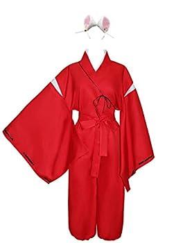 HappyBus Inuyasha Cosplay Inuyasha Costume with Inuyasha Ears Halloween Costume Anime Cosplay  L