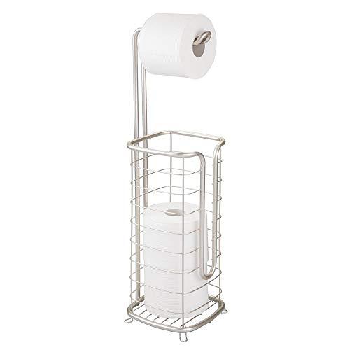 mDesign Toilettenpapierhalter ohne Bohren – freistehender Klorollenhalter fürs Badezimmer – rostfreier Papierrollenhalter für vier Rollen – mattsilberfarben