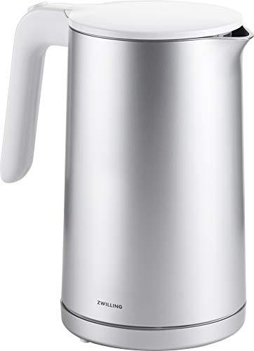 ZWILLING Enfinigy Wasserkocher 1,5 l, 1.550 – 1.850 W, Abschaltautomatik, doppelwandiges Gehäuse, Edelstahl/Kunststoff, Silber/Weiß