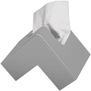 RALOVE Tissue Box Cover Triangle - Facial Cube Tissue Box Holder Case Dispenser for Bathroom Vanity Countertop, Bedroom Dresser, Office Desk or Night Stand Table (Gray)
