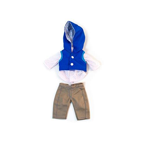 Miniland poppenkleding Broek, hemd en vest met capuchon. bruin, blauw, wit