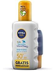 NIVEA Sun Kids Sensitive Zonnespray met beschermingsfactor 50+, inclusief gratis reisformaat (200 ml + 50 ml), watervaste zonnecrème voor de gevoelige kinderhuid