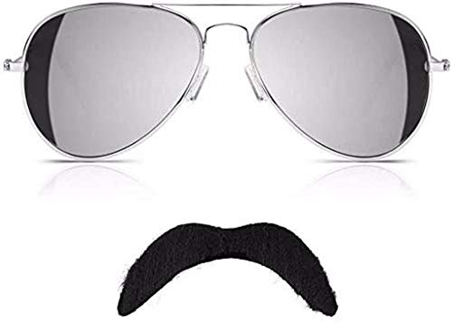 Freddie Mercury Gafas de sol y bigote reina para disfraz de aviador...