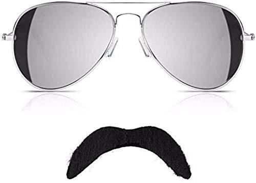 Freddie Mercury Gafas de sol y bigote reina para disfraz de aviador y gafas de espejo negro con cinta de rapsodia bohemia de la película