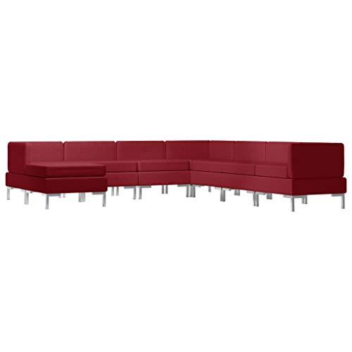 vidaXL Sofagarnitur 8-TLG. Stoffsofa Loungesofa Couch Polstersofa Sofa Couchgarnitur Polstergarnitur Sitzmöbel Mittelsofa Ecksofa Fußhocker Stoff Weinrot