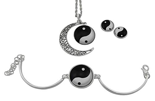 Hanessa - Juego de joyas Ying y Yang, collar y pendientes, pulsera en blanco y negro, cadena de regalo para mujer o novia