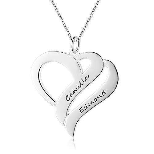 Bo&Pao Namenskette Herz 925 Sterling Silber mit Gravur, Herz Kette Damen Silber mit Gravur