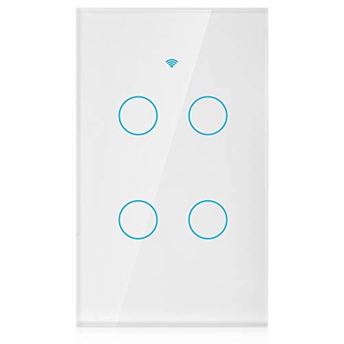 Painel do interruptor de Wifi, Interruptor de tela de toque wifi, interruptor remoto com teclas de toque altamente sensíveis, adequado para Alexa Google, AC de 4 vias (branco)