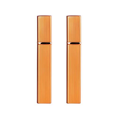 BESPORTBLE 2Pcs Mini Flacons en Métal Flacons D'échantillons de Parfum Portables Conteneurs de Maquillage Rechargeables pour Huile Essentielle de Parfum Liquide 12 ML (Doré)