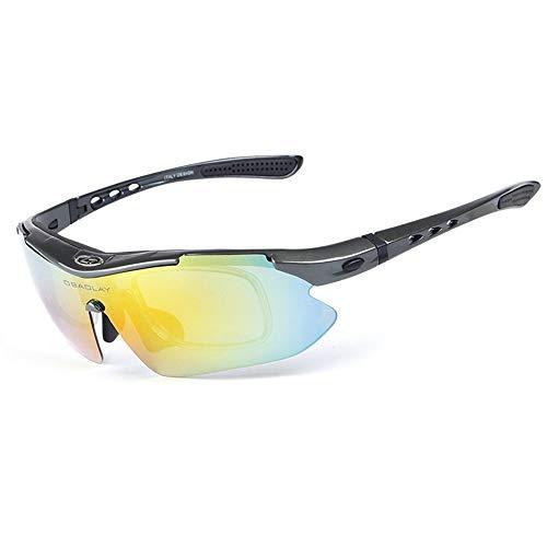 OPEL-R Gafas Ciclismo Motocross Anti-UV400 Gafas De Sol Polarizadas 5 Lentes para MTB Correr, Pescar, Conducir, Deportes Al Aire Libre (Gray)