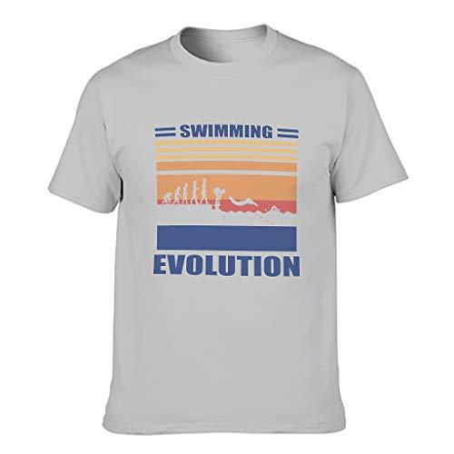 Lind88 - Maglietta da uomo in cotone con evoluzione del nuoto, divertente Hobby Vacation Grigio argento 6X-Large