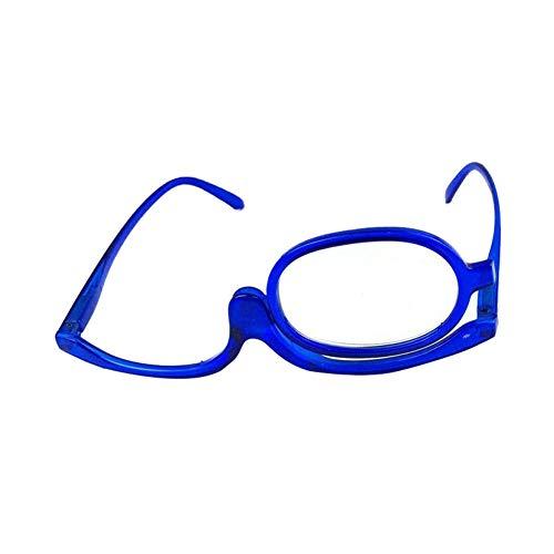 EDQZ, occhiali da lettura, unisex, monocle lente di ingrandimento per il trucco, rotazione di 180 gradi, diottrie pieghevoli blu 2,50