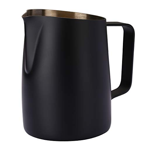 Dianoo Espresso Steaming Pitcher, Espresso Milk Frothing Pitcher Stainless Steel, Coffee Latte Art Cup 14.2 OZ (420ml) Black