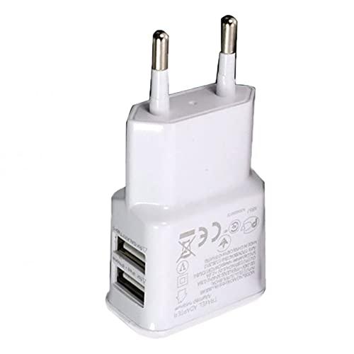 Cargador de teléfono móvil, 5V 1A Enchufe de Cargador de Corriente USB Dual portátil, Enchufe eléctrico de Pared USB, Adaptador de Cargador de Viaje para teléfono Inteligente - Blanco