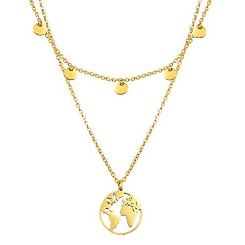 SHINE & WANDER Travel Island Necklace Bundle | Zweireihige Damen Edelstahl Halskette mit Plättchen und Globus Anhänger | Layered Look in Gold, Silber und Roségold mit verstellbaren Längen (Gold)