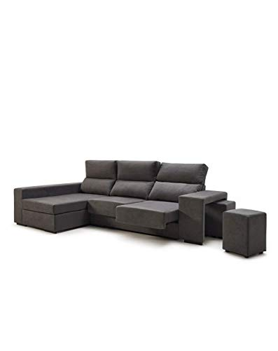 Home Heavenly- Sofá ChaiseLongue, Marte, 3 plazas con arcón, tapizado Color Gris, Tratamiento Antimanchas (Chaise Longue Derecho)