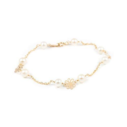 Pulsera Niña oro Flor con perlas