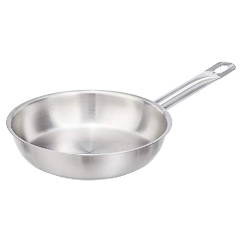 """AmazonCommercial 8"""" Stainless Steel Aluminum-Clad Fry Pan"""