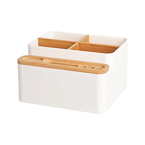 Cajas de acabado de escritorio Productos domésticos desmontables Cajas de cosméticos Cajas Organizador de madera Cajas de almacenamiento de plástico de madera Accesorios de oficina ( Color : White )