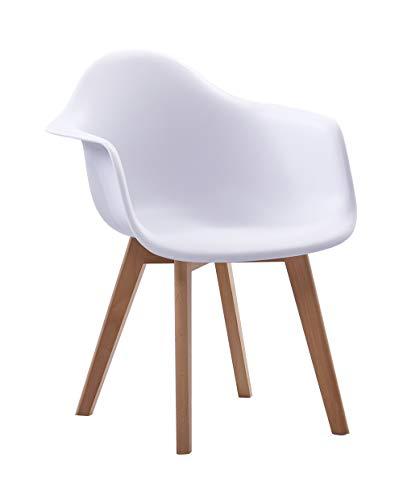 SAM Schalenstuhl Luis, Weiß, ergonomisch geformte Sitzschale aus Kunststoff, bequemer Esszimmerstuhl im Retro-Design, Holzgestell aus Buche Natur