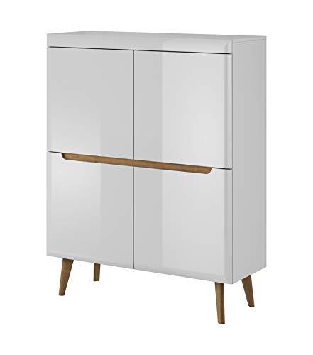 Furniture24 Kommode mit türen NORDI Schrank Hochschrank Skandinavische Stil (Weiß/Weiß Hochglanz)