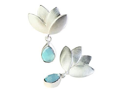 Pendientes Flor de Loto Plata de Ley con Piedra Semipreciosa Natural Aqua Calcedonia para Mujer