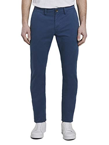TOM TAILOR Herren Hosen & Chino Travis Slim Chino Blue Grid minimal Design,30/34,22755,6000