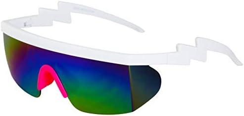 Semi Rimless Goggle Style Retro Rainbow Mirrored Lens ZigZag Sunglasses Rainbow Pink product image