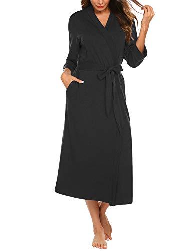 PEATAO Damen Morgenmantel aus Baumwolle 3/4 Ärmeln Bademantel Nachtwäsche Kimono Saunamantel mit Tiefer V-Ausschnitt Schlafanzug, XXL, Schwarz