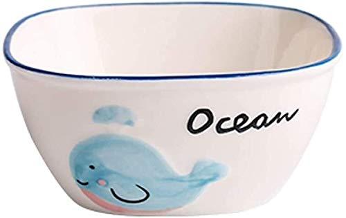GZA Placa De Los Niños Vajilla De Cerámica, Hogar De Dibujos Animados Ballena Azul De Vajilla Divisor, Certificación, Platos Lindo para lavavajillas (Color : Blue Whale 4.5 Inch Rice Bowl)