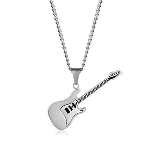 TENDYCOCO Guitarra Colgante Collar Hip Hop Charm Collar Titanio Acero Joyería Declaración (Plata)