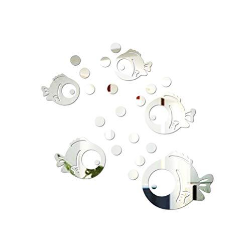 VORCOOL Sticker Mural Acrylique 3D Poisson et Bulles Autocollants Miroir pour Chambre Salon Salle de Bain décoration Argent